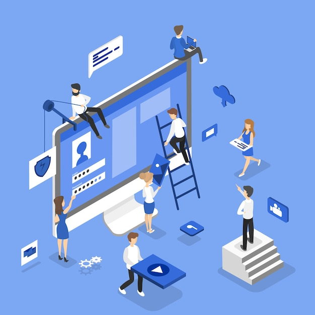 Ludzie Budujący Witrynę Internetową Premium Wektorów