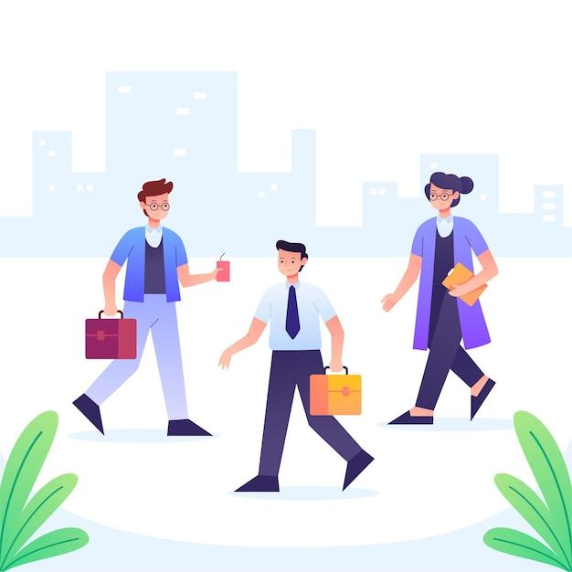 Ludzie Chodzą I Idą Do Pracy Premium Wektorów
