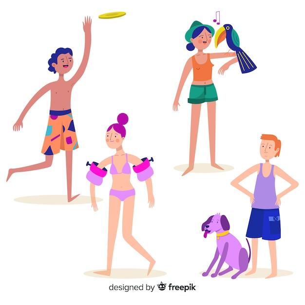 Ludzie Cieszą Się Latem Na Plaży Darmowych Wektorów