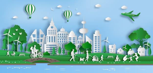 Ludzie Cieszą Się świeżym Powietrzem W Parku W Zielonym Mieście. Premium Wektorów