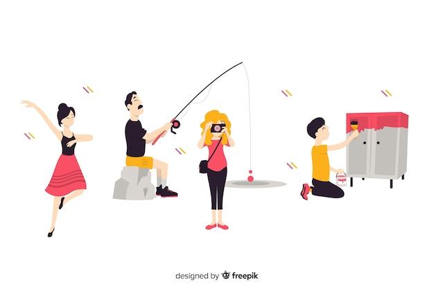 Ludzie cieszący się kolekcją hobby Darmowych Wektorów