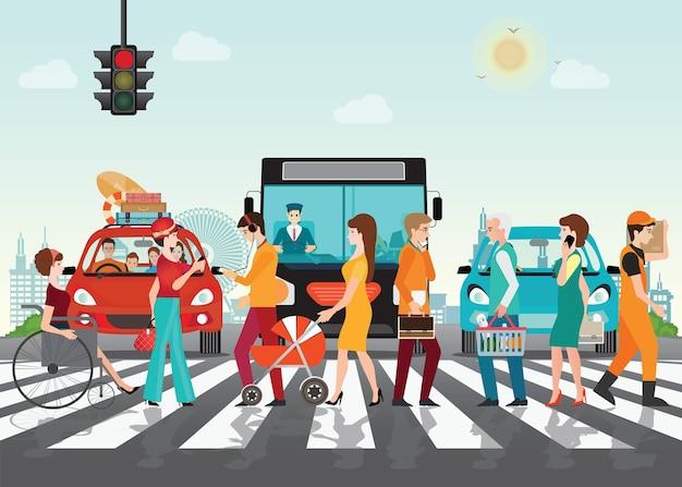 Ludzie crosswalk ścieżki na drodze z samochodami. Premium Wektorów