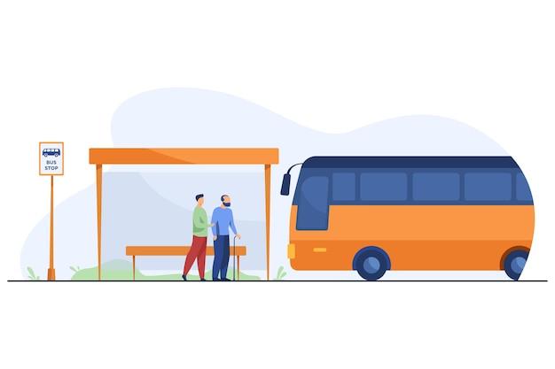 Ludzie Czekają Na Autobus Na Przystanku Darmowych Wektorów