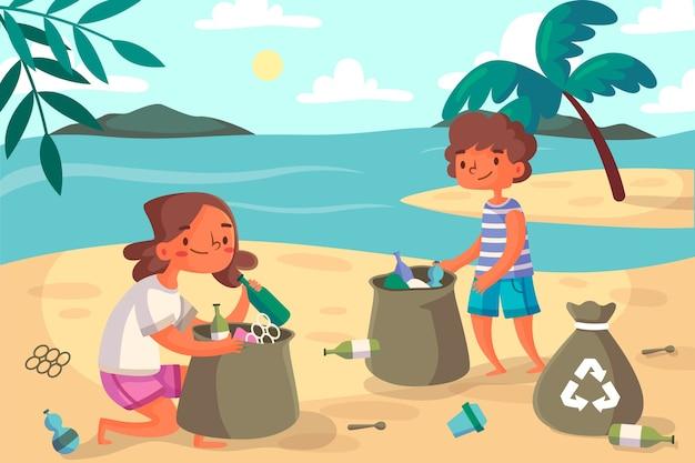 Ludzie Czyści Plażową Ilustrację Darmowych Wektorów