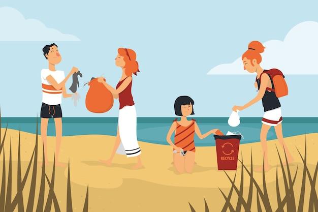 Ludzie Czyszczenia Koncepcji Plaży Darmowych Wektorów