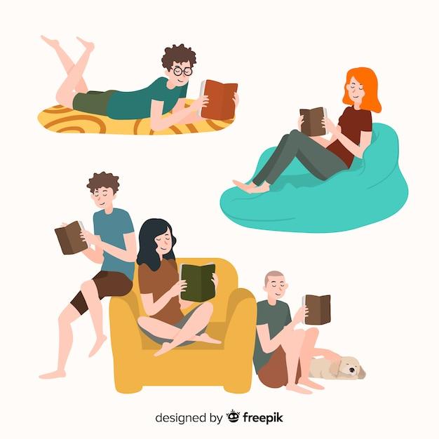 Ludzie czytający Darmowych Wektorów