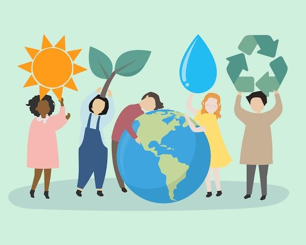Ludzie dbający o świat i środowisko Darmowych Wektorów