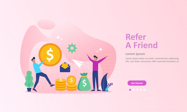 Ludzie Dzielą Się Informacjami O Poleceniu I Zarabiają Pieniądze Landing Page Premium Wektorów
