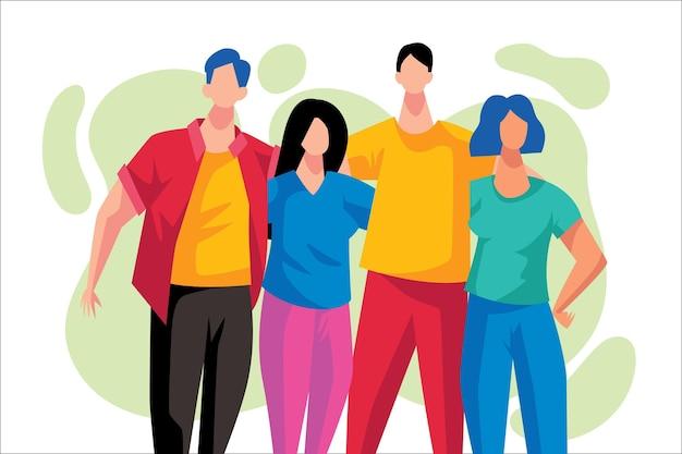 Ludzie Dzień Młodzieży Przytulanie Koncepcja Darmowych Wektorów