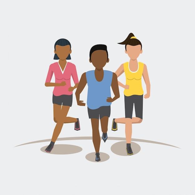 Ludzie Fitness Prowadzący Frontview Premium Wektorów
