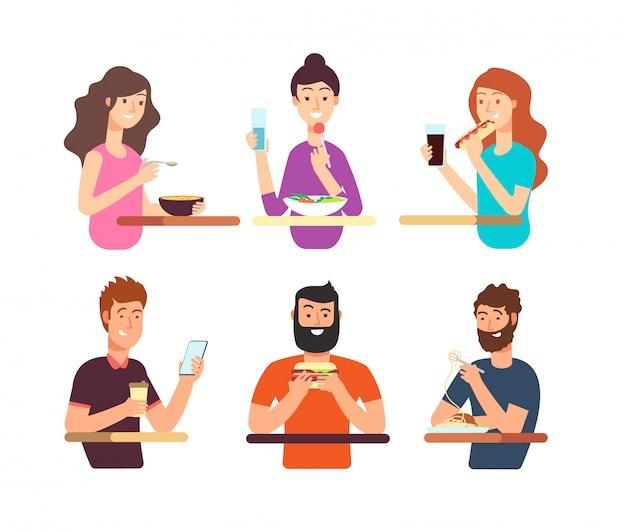 Ludzie, głodni ludzie jedzący różne potrawy. postaci z kreskówek jedzą wektor zestaw na białym tle Premium Wektorów