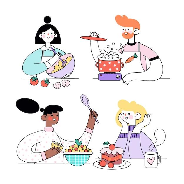 Ludzie Gotujący W Domu Pyszne Jedzenie I Desery Darmowych Wektorów