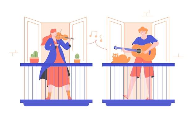 Ludzie Grają Na Instrumentach Muzycznych Na Balkonach. Skrzypek Dziewczyna I Facet Gitarzysta. Rozrywka W Domu, Koncert Dla Sąsiadów, Bezpłatny Występ Na żywo. Mieszkanie Nowoczesna Ilustracja. Premium Wektorów