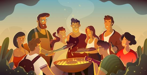 Ludzie I Karmowy Pojęcie - Szczęśliwi Przyjaciele Ma Mięso Dla Gościa Restauracji Przy Lata Ogrodowym Przyjęciem Przy Nocą. Premium Wektorów