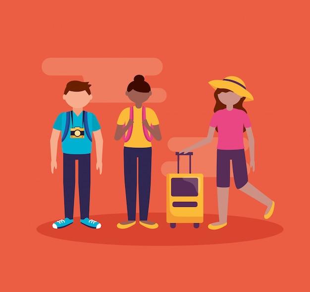 Ludzie i podróże w stylu płaskiej Darmowych Wektorów