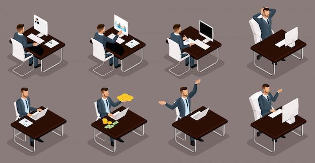 Ludzie Izometryczni, 3d Młodzi Przedsiębiorcy, Różne Sceny Pojęć Pracujących W Biurze, Emocje I Gesty Biznesmena W Pracy, Zarządzanie Pieniędzmi Izolować Premium Wektorów