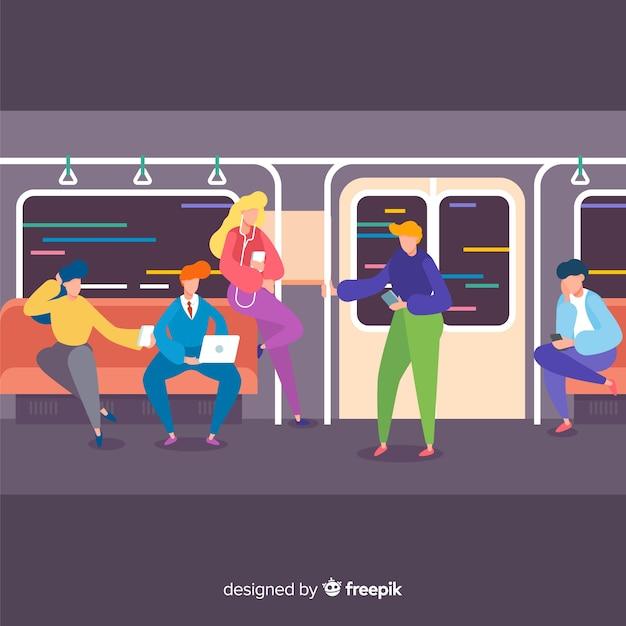 Ludzie jadący metrem Darmowych Wektorów
