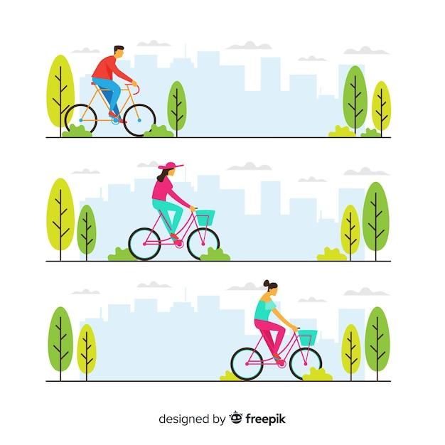 Ludzie jadący na rowerze w parku Darmowych Wektorów