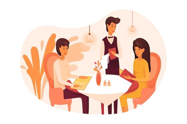 Ludzie Jedzący Kolację W Restauracji, Para Na Romantycznej Randce I Kelner Premium Wektorów