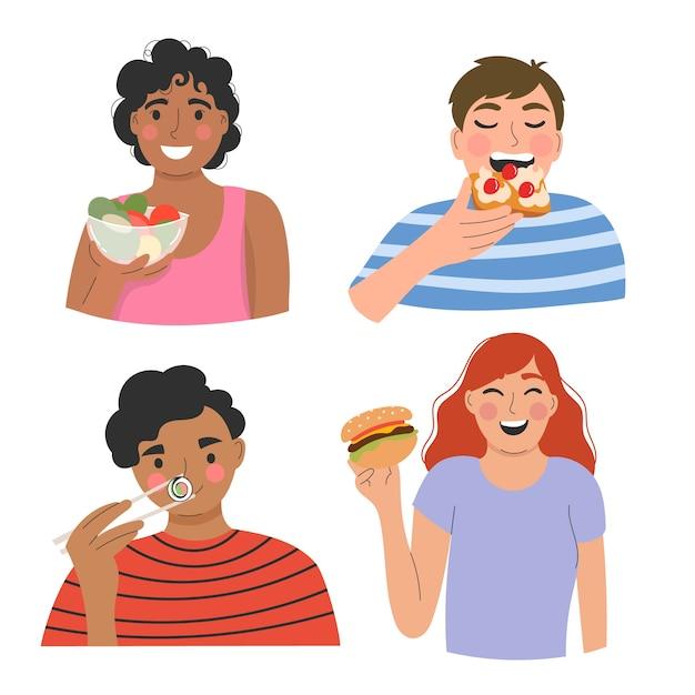 Ludzie Jedzący Pyszne Jedzenie Darmowych Wektorów