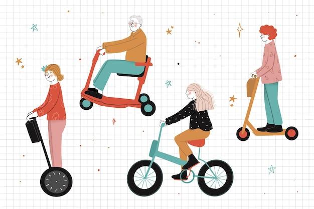 Ludzie Jedzie Elektrycznego Transportu Ilustrację Darmowych Wektorów