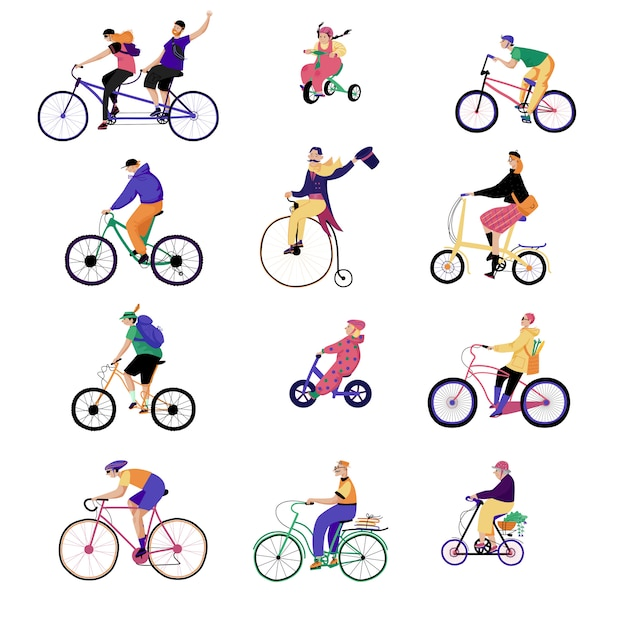 Ludzie Jeżdżą Na Rowerach, Ilustracja, Postacie Na Białym Tle Na Różnych Oryginalnych Rowerach, Płaski. Premium Wektorów