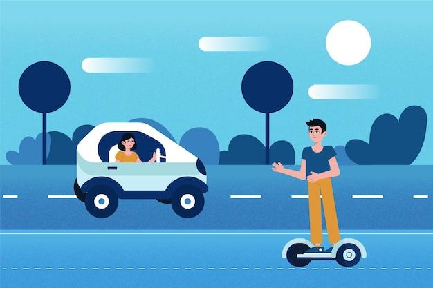 Ludzie Kierujący Transportem Elektrycznym Darmowych Wektorów