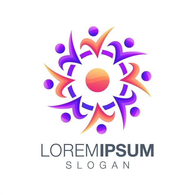 Ludzie kolor gradientu logo Premium Wektorów