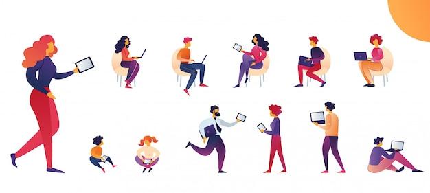 Ludzie korzystają z kreskówki wektor tablety i laptopy. Premium Wektorów
