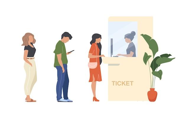 Ludzie Kupują Bilet Bez Twarzy W Płaskich Kolorach. Kolejka Do Budki Przyjęć. Osoba Czeka W Tłumie. Rezerwacja Usługi Karnetu Ilustracja Kreskówka Na Białym Tle Do Projektowania Grafiki Internetowej I Animacji Premium Wektorów