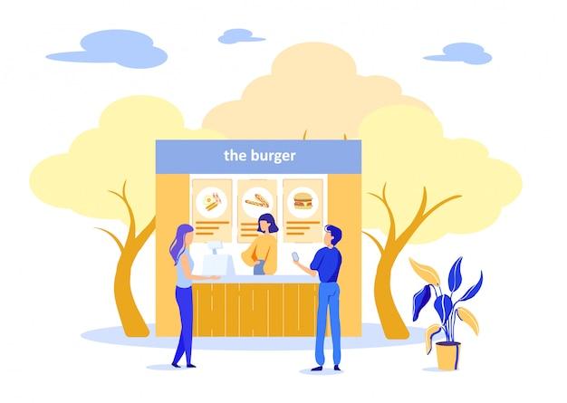 Ludzie kupujący burgery w street fast food cafe Premium Wektorów