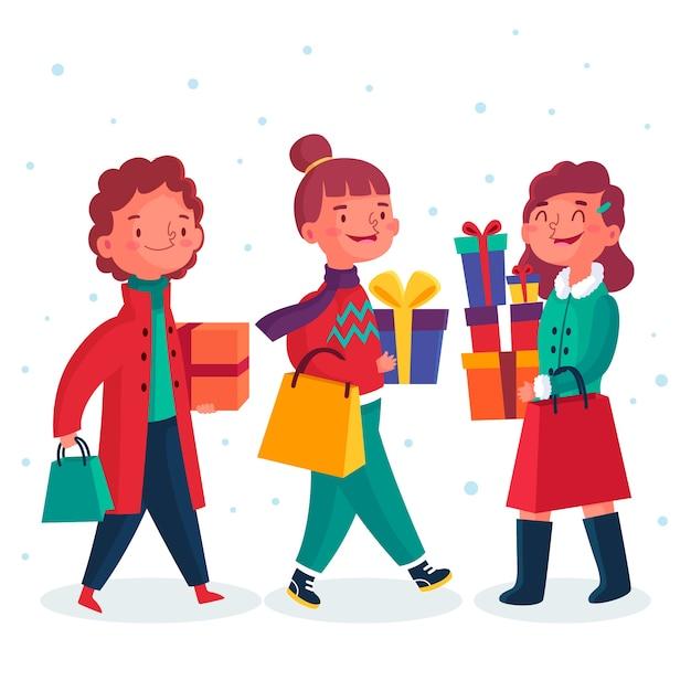 Ludzie Kupujący Prezenty świąteczne Ilustracje Paczka Darmowych Wektorów