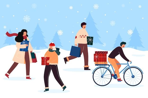 Ludzie kupujący prezenty świąteczne Darmowych Wektorów