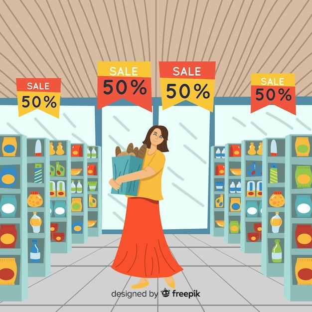 Ludzie Kupujący W Supermarkecie Darmowych Wektorów