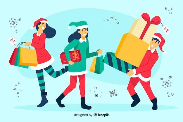 Ludzie kupuje boże narodzenie prezenty ilustracyjnych Darmowych Wektorów