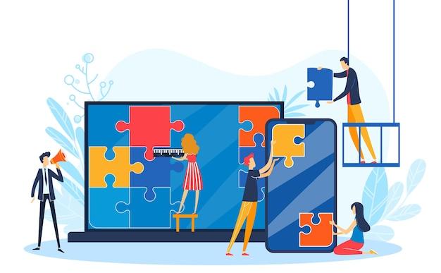 Ludzie łączą Ilustrację Układanki Projektu. Premium Wektorów