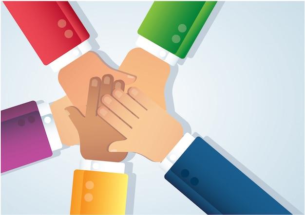 Ludzie łączą ręce Premium Wektorów
