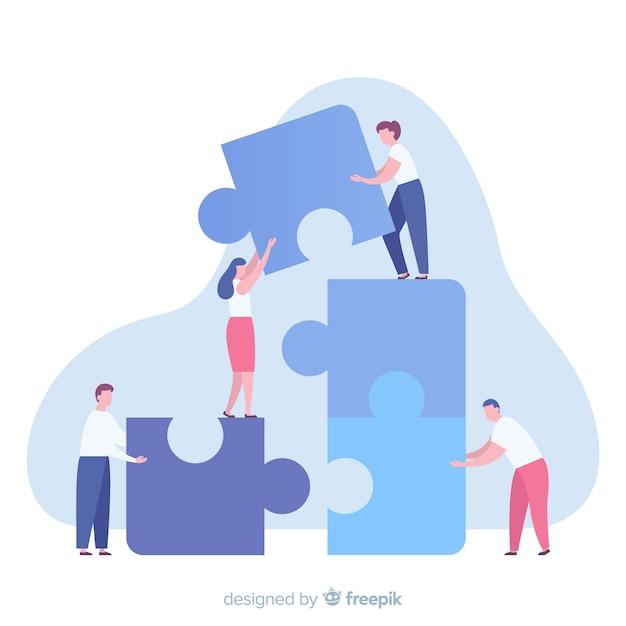 Ludzie łączący Elementy Układanki Premium Wektorów