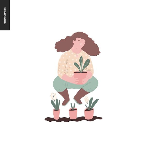 Ludzie lato ogrodnictwo - ilustracja koncepcja płaski wektor młodej kobiety brunet noszenie żółtej bluzki, spodnie i buty, trzymając roślinę w doniczce, koncepcja samowystarczalności Premium Wektorów