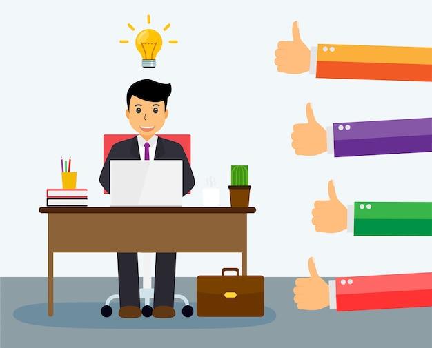 Ludzie Lubią I Dają Kciuki Do Dobrego Pomysłu Premium Wektorów