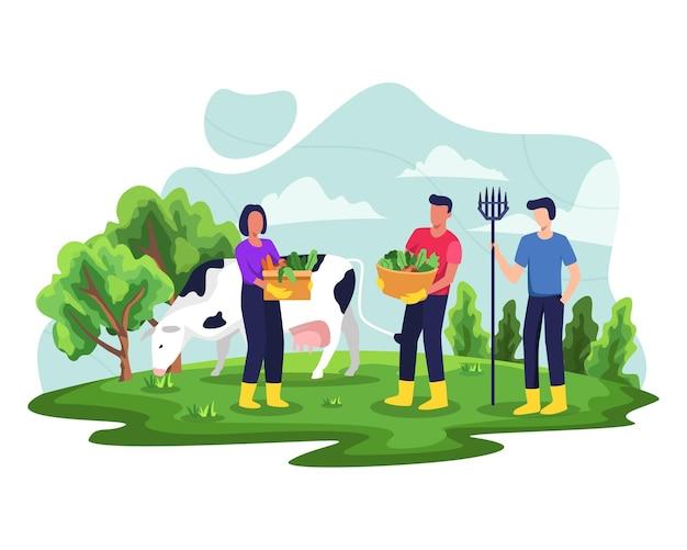 Ludzie Lubią Ogrodnictwo I Sadzenie Ilustracji. Rolnicy Lub Pracownicy Rolni Uprawiający Rośliny. Ilustracja W Stylu Płaskiej Premium Wektorów