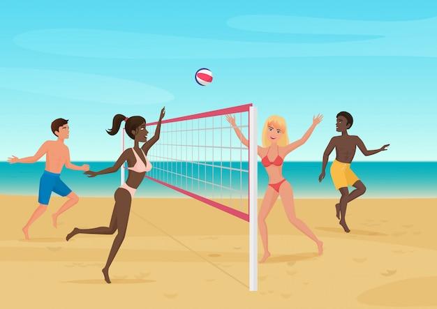 Ludzie ma zabawę bawić się siatkówkę na plażowej ilustraci. aktywny sport morski. Premium Wektorów