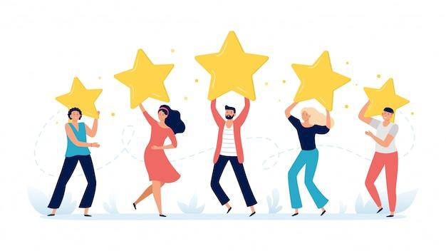 Ludzie Mają Gwiazdki. Opinie Klientów, Oceny Wyborów Klientów I Ilustracja Wektorowa Przeglądu Satysfakcji Klientów Premium Wektorów