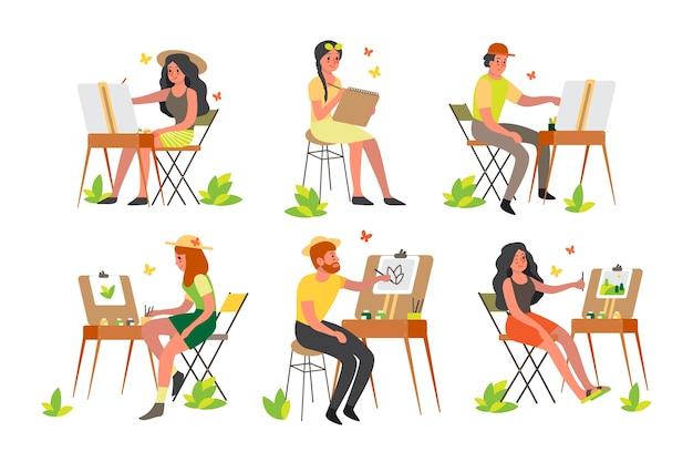 Ludzie Malujący Na Zewnątrz. Młody Artysta Na Plenerze Siedzący Przy Sztalugach Z Paletą Kolorów I Pędzlem. Szczęśliwy Artysta Rysujący Na Zewnątrz. Premium Wektorów