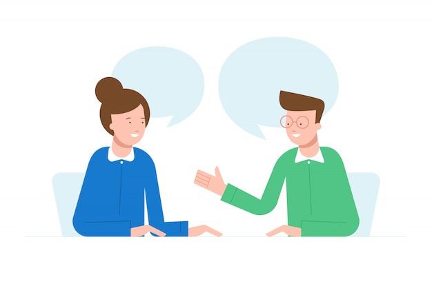 Ludzie mówią charakter ilustracji. koncepcja pracy zespołowej. rozmowa kwalifikacyjna. Premium Wektorów