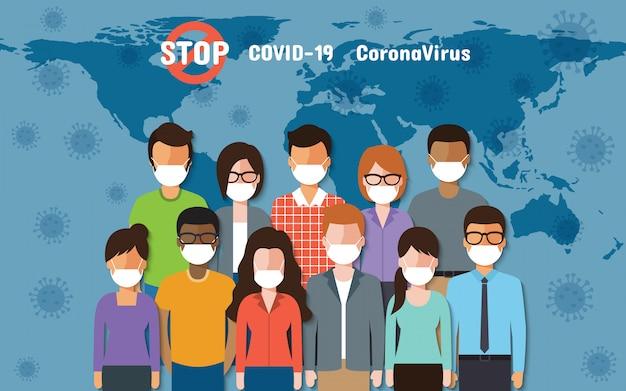Ludzie Na Całym świecie W Maskach Na Twarz Walczą O Koronawirusa, Covid-19 Na Mapie świata. Premium Wektorów