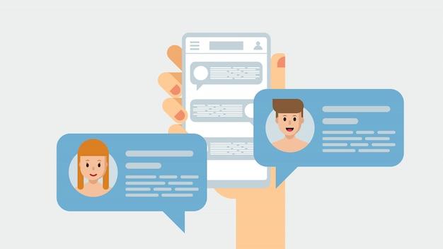 Ludzie na czacie za pośrednictwem komunikatora. smartphone, mobilny w dłoni Premium Wektorów
