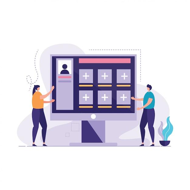 Ludzie na ekranie komputera wektorze Premium Wektorów