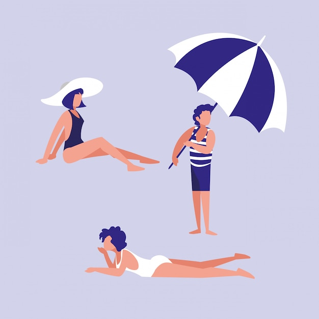 Ludzie na plaży z strój kąpielowy Premium Wektorów