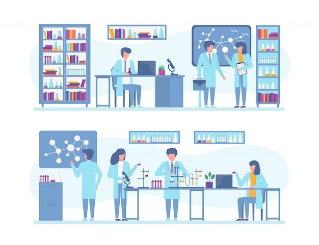 Ludzie Naukowcy Pracują Nad Badaniami, Eksperymentami W Laboratorium Naukowym, Zestawem Ilustracji. Premium Wektorów